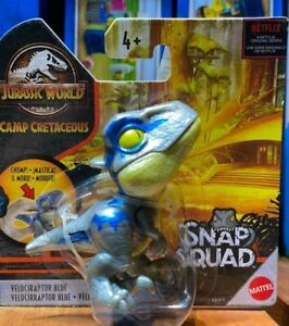 Camp Cretaceous Jurassic World Snap Squad Figure:  Velociraptor Blue Metallic