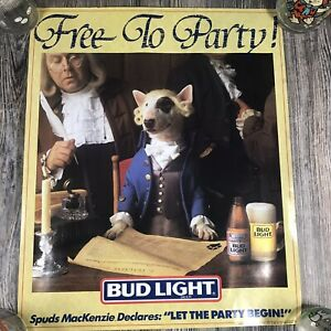 Vintage 1987 Spuds MacKenzie Bud Light Free To Party Poster
