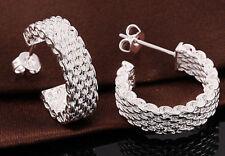 Stud Hoop Earrings 1 pair Wholesale 925 Sterling Silver plated Stylish Lady Ear