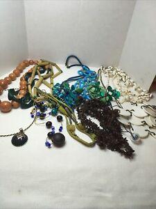 Lot of 14 Large Unique Colorful Unusual Costume Necklaces