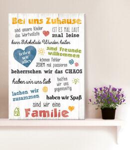 Gilde Holzschild Holzbild Wandbild Weisheit Bei uns Zuhause MDF 44003
