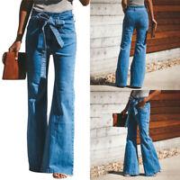Nouveau Femme Décontracté Cordon Taille Hauts Jambe Large en Vrac Pantalon