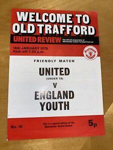 man utd  (under 19) v england youth 14/1/1976 with token