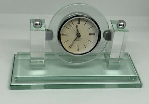 Stunning Art Deco Style Glass Mantel Clock Tested & 100% Working Elegant Stylish