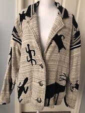 Southwest Jacket Painted Pony Aztec Deer Elk Tapestry Silver One Size
