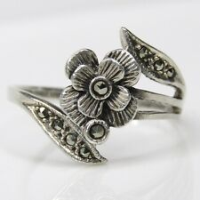 Flower Marcasite Sterling Silver Ring .13 TCW - Size 8.75 - 2.523 grams (#0111)