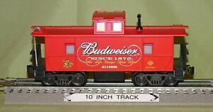 K-Line 6115602 Budweiser Illuminated Red Caboose O/027 ga. wks. w/ Lionel 2000