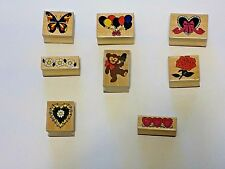 Assorted Lot of 8 Mixed Themes Mounted Rubber Stamps for Stamping & Embossing