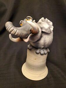 Vintage Todd Warner Elephant Bell Sculpture Signed Dated 1997