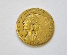 1912  US $2.50 Quarter Eagle Indian Head Gold Coin