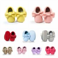 Baby Kids Fringe Soft Sole Moccasin Boy Girl Toddler Leather Crib Shoes 0-18M AU