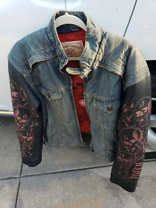 Rare Hard to find Icon Strongarm Fate Jacket Leather Skull Sleeves