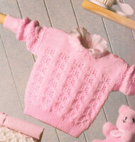 "Baby Shoulder Buttoning Textured Sweater 16"" - 24"" ~ 4 Ply  Knitting Pattern"