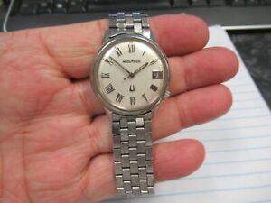 Vintage Bulova Accutron M7 Case Date 218 D Wristwatch SS Case & Accutron Band