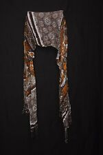 Brown Tangerine White Blue & Mellow Yellow Space Symbols Print Sheer Scarf S185