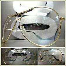 CLASSIC VINTAGE RETRO Style EYE GLASSES Gold Frame Clear Lens with Slight Tint
