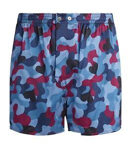 Derek Rose Modern Fit 100% Silk Satin Boxer Shorts Size XL RRP £150