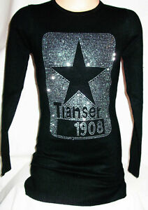GIRLS BLACK SPARKLY SILVER STAR LOGO PRINT PARTY KNIT JUMPER DRESS TOP age 3-4