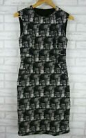 David Lawrence Pencil dress Black, white print Sleeveless Sz 10