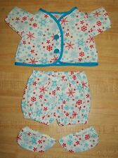 "PJs top+pants+booties PINK ROSEBUD for 12-15/"" CPK Cabbage Patch Kids Preemie BBB"