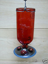 Perky Pet 16oz Elegant Antique Red Glass Bottle Hummingbird Feeder 4 Ports
