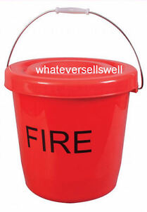 15 litre RED PLASTIC FIRE BUCKET w LID for camping caravan tent event festival