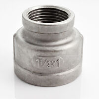 """Stainless Steel 1-1/2"""" x 1"""" Female Nipple Threaded Reducer Pipe Fitting SS304"""
