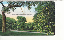 Trinity Park entering West Seventh Street  Fort Worth Texas Linen Postcard 227