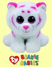 """Ty® 7"""" Tabor Beanie Babies® Sitting Pink & White Tiger - FROM OUR WILDLIFE STOCK"""