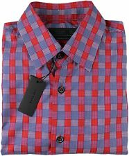 PRADA MEN'S RED & BLUE CHECK COTTON SHIRT-40/ 15.75-MADE IN ITALY