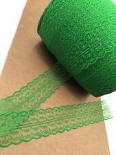 Verde Lima de 5 MTR festoneado Bordada secuencia Cristal Bridal Lace Net Tela