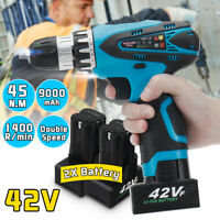 42V Cordless Impact Wrench Power Drill Bit Driver Screwdriver Battery & Charger