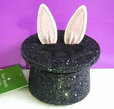 Kate Spade New York Black Glitter Bunny Ear Magic Hat Coin Purse Wallet $128