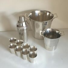 French Art Deco Bar Set/ Champagne & Ice Buckets, Cocktails Shaker & 8 Tumblers