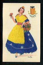 Embroidered clothing postcard Artist Iraola, Spain, Valencia woman #5