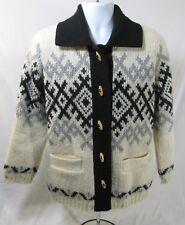 Brown Bison Cardigan Sweater Size Medium Pure Wool Ivory Black Fair Isle Nordic