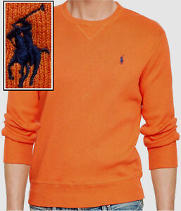 NWT POLO by Ralph Lauren Cotton Crewneck Sweater in Orange Size S