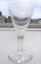 Georgian Gin Liqueur Glass with Engraved Funnel Bowl on Drawn Stem 12 cm high