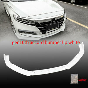 3PCS FRONT BODY BUMPER SPOILER LIP For 2018-2020 HONDA ACCORD 4DR PAINTED WHITE