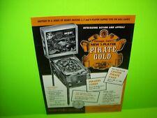 Pirate Gold Pinball FLYER Original Chicago Coin 1969 Promo Artwork Sheet Vintage