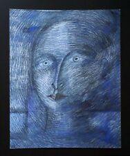 France HI Outsider Art Mixed Media Painting Portrait by Claude Vedel (EtJ)#20