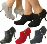 WOMENS BLACK NUDE RED NAVY PLATFORM BOOTIES HEEL HIGH COURT SHOES ANKLE BOOTS