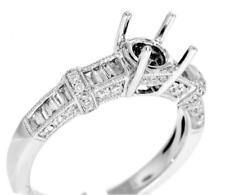 Diamond Engagement Ring Setting 0.78ct VS1 Baguette 18k White Gold