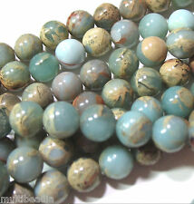 "Aqua Terra African Opal 8mm Round Beads 16"" Natural Impression Jasper"