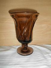 "5  FOSTORIA JAMESTOWN BROWN FOOTED ICE TEA GLASS  6""  tall goblets"