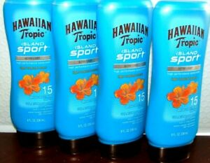 Lot of 4 Hawaiian Tropic Island Sport Lotion Sunscreen SPF 15, 8 oz  Exp 01/2021
