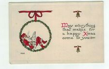 1915 Bergman Embossed Santa Christmas Post Card Santa Reads Paper Smokes Pipe