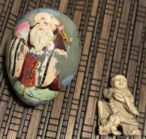 Lot Asiatique 1 oeuf en jade peints à la main art asiatique Et Un Personnage Os.