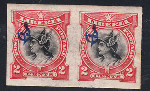 Liberia # O47 MINT VLH IMPERF PAIR1906 Mercury