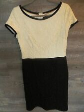 Women's Ann Taylor Evening Short Sleeve Black Ivory Lace Dress Sz 10 Tall